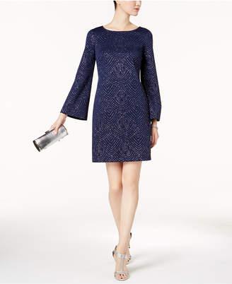 Jessica Howard Bell-Sleeve Glitter Shift Dress