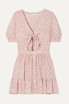 Faithfull The Brand Marigot Tie-front Cutout Floral-print Crepe Mini Dress - Blush