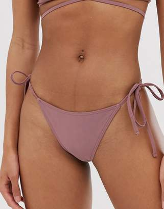 Asos Design DESIGN tie side bikini bottom in mauve