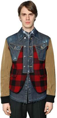 DSQUARED2 Patchwork Plaid, Denim & Leather Jacket