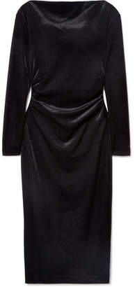Rachel Zoe Hudson Draped Ribbed Velvet Dress - Black