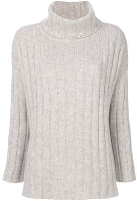 Allude ribbed roll neck jumper