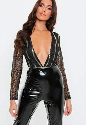 Missguided Black Plunge Embellished Bodysuit