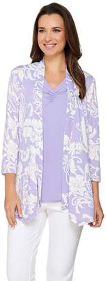 Susan Graver Printed Liquid Knit Cardigan with Solid Pleated Tank