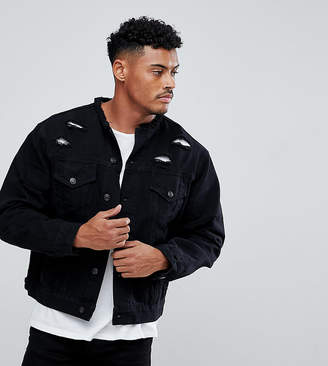 SikSilk collarless denim jacket in muscle fit with distressing