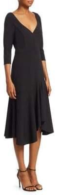 Halston Quarter-Sleeve Wide V-Neck Flounce Dress