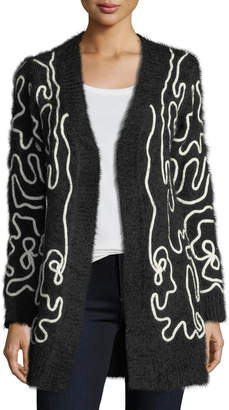 Neiman Marcus Long Embroidered Fuzzy Cardigan
