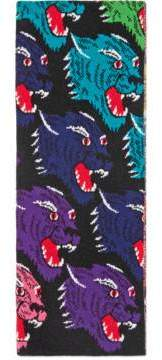 Gucci Rainbow panther face jacquard wool scarf