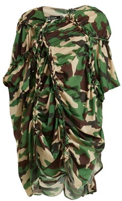 Junya Watanabe Gathered Detail Camouflage Print Woven Dress - Womens - Green Multi