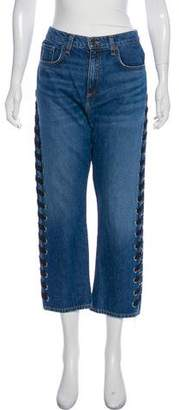 Veronica Beard High-Rise Lace-Up Jeans