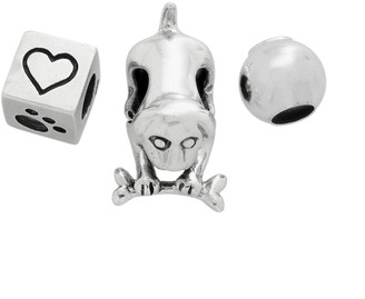 Individuality Beads Sterling Silver Dog, Cube & Spacer Bead Set