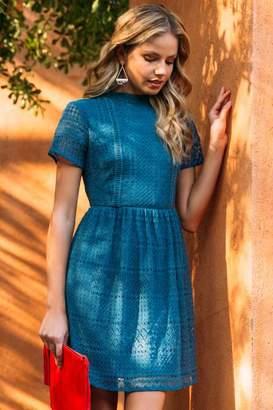 francesca's Vivienne Ladder Lace Trim A-Line Dress - Dark Teal