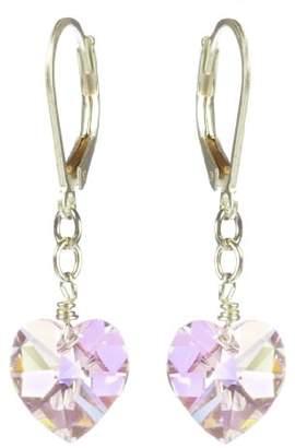 Swarovski Sterling Silver Elements Light Amethyst Colored Aurora Borealis Heart Shape Drop Earrings