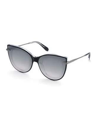Cat Eye KREWE Laveau Cat-Eye Acetate & Metal Mirrored Sunglasses
