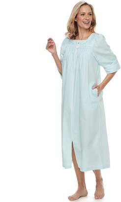 Miss Elaine Petite Essentials Gingham Seersucker Robe