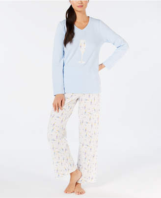 Charter Club Brushed Cotton Knit Pajama Set