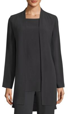 Eileen Fisher Silk Georgette Long Vest $358 thestylecure.com