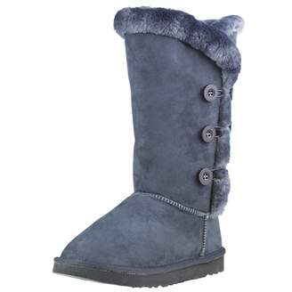 KOZIES Women's Suede Boots (Triple Button) - Warm Fur Interior Lining | Rubber Blend Sole | Color - Size 7US