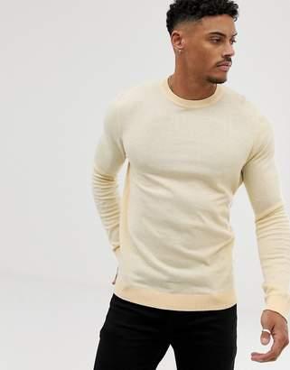 Asos Design Cotton Jumper In Yellow