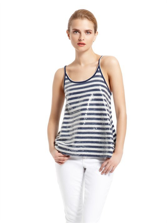 DKNY Jeans Stripe Sequin Swing Tank