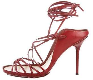 Gucci Woven Lace-Up High-Heel Sandals