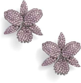 Nina Large Orchid Swarovski Crystal Stud Earrings