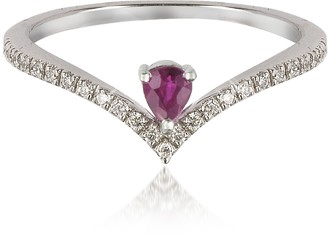 Forzieri V-Shaped Diamonds Band Ring with Enclosed Drop Ruby