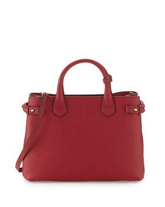 Burberry Banner Medium House Check & Derby Leather Tote Bag, Russet Red