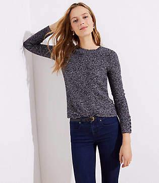 LOFT Petite Marled Button Cuff Sweater