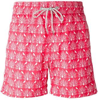 Love Brand peacock print swim shorts