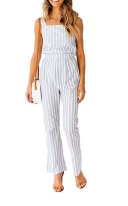 738517eb399 Meihuida Women s Casual Strap Striped High Waist Wide Leg Long Pants Jumpsuit  Romper Sleeveless