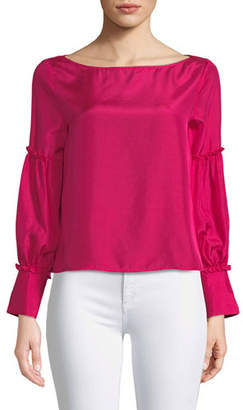 Club Monaco Morites Silk Blouson-Sleeve Top