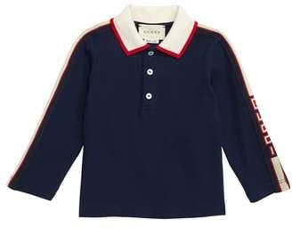 Gucci Long Sleeve Stripe Cotton Pique Polo Shirt