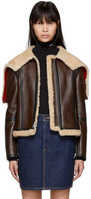 Calvin Klein Brown Leather Aviator Jacket