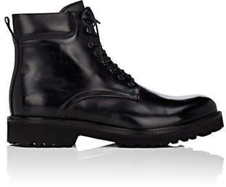 Barneys New York Men's Lug-Sole Leather Boots - Black