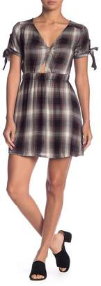 Love, Fire Plaid Keyhole Cutout Dress