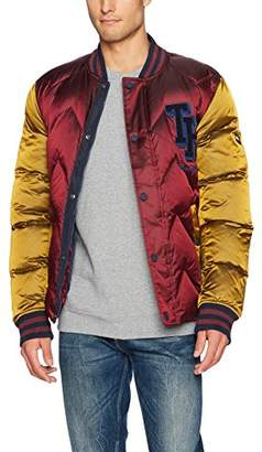 Tommy Hilfiger Men's Bomber Jacket with Varsity Patch and Down Fill