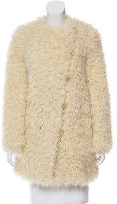 Zadig & Voltaire Collarless Faux Fur Coat w/ Tags $225 thestylecure.com