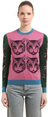 Gucci Cats Lurex Jacquard Sweater