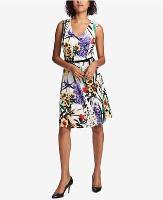 Tommy Hilfiger Floral-Print Belted Dress