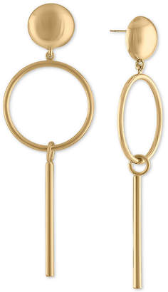 Rachel Roy Gold-Tone Post & Circle Drop Earrings