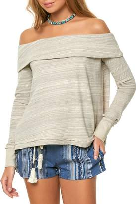 O'Neill Off-the-Shoulder Raw Edge Top