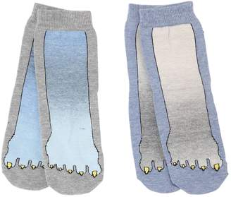 Stella McCartney Set Of 2 Monster Foot Cotton Knit Socks