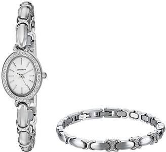 Swarovski Armitron Women's 75/5395MPSVST Crystal Accented -Tone Watch and Bracelet Set