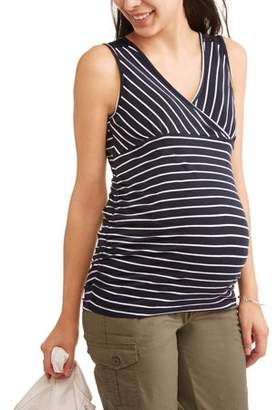 Oh! Mamma Maternity Nursing Sleeveless Stripe Surplice Top with Flattering Side Ruching-- Available In Plus Sizes