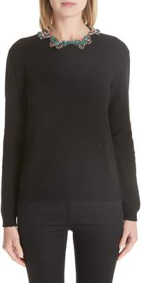 Valentino Embellished Butterfly Neck Wool & Cashmere Sweater