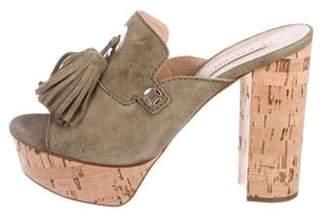 Casadei Suede Peep-Toe Sandals Green Suede Peep-Toe Sandals