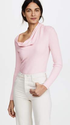 Tome Drape Neck Rib Knit Sweater