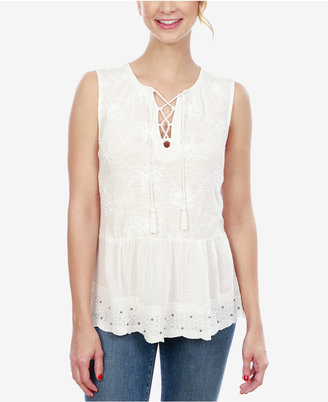 Lucky Brand Cotton Lace-Up Peplum Top $69.50 thestylecure.com