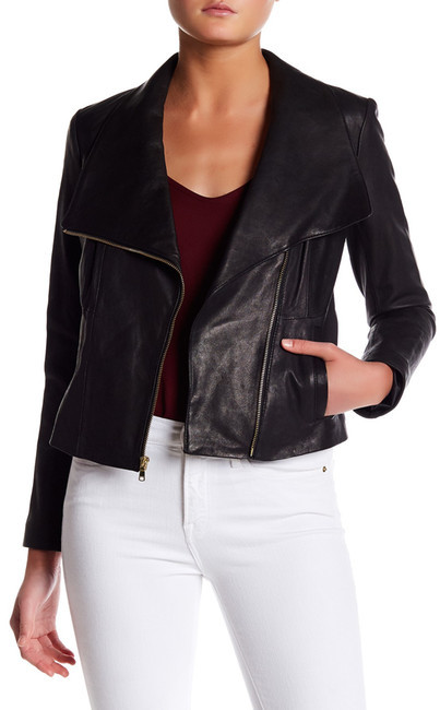 Cole Haan Cole Haan Asymmetrical Genuine Leather Jacket